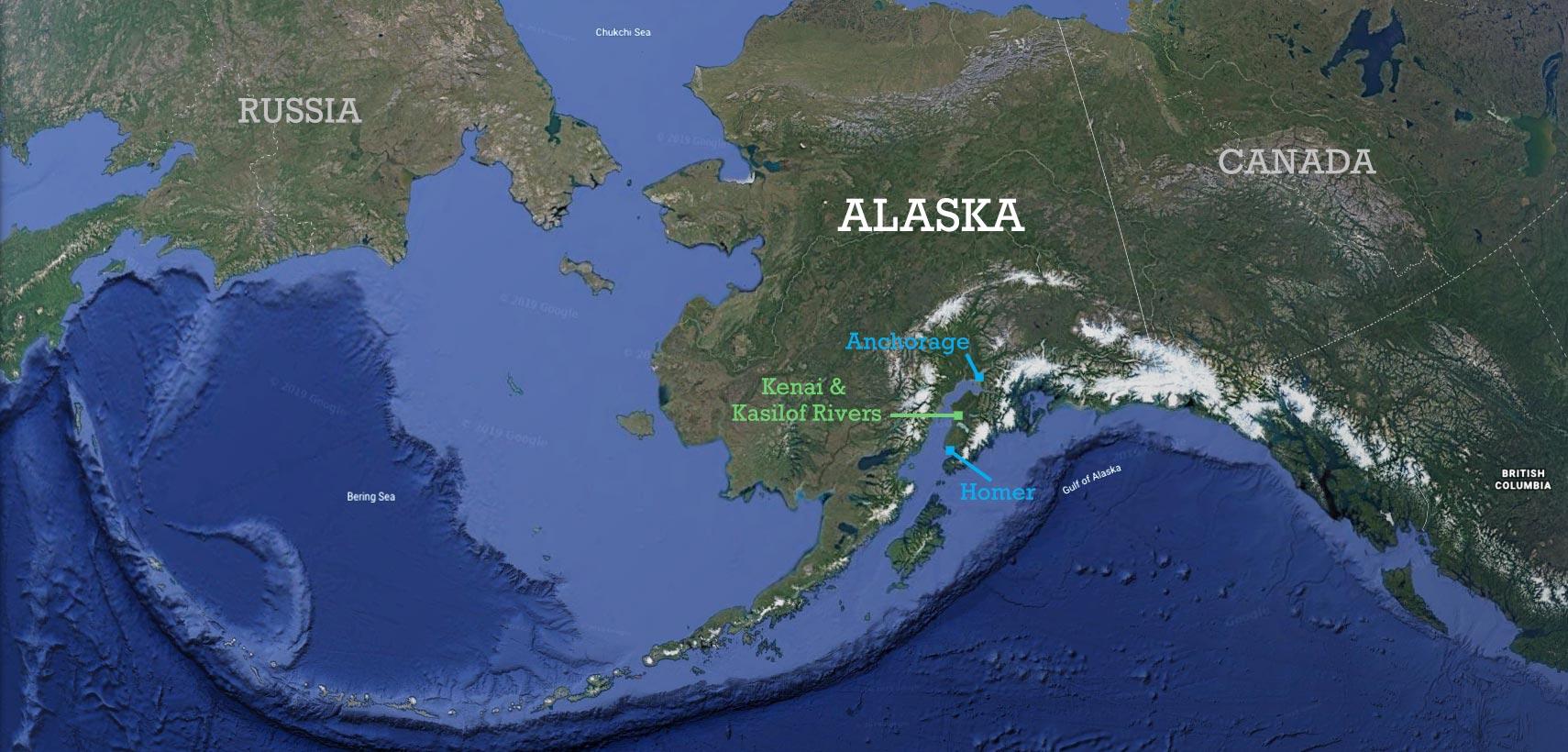 Map of Alaska showing location of the Kenai and Kasilof Rivers